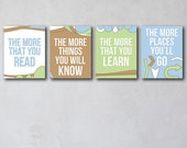The More That You Read 4 | Wall Art Collection | Canvas Art Decor | Typography Quote Print | Baby Boy Room | Story Book Art | Homeschool Art