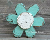 Turquoise Flower, Flower Shelf Sitter, Cottage Turquoise, Cottage Chic, Farmhouse Style, Summer Flower, Summer Decor, Wedding Gift