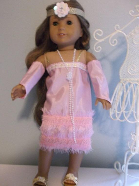 Pink Flapper dress, gloves, pearl necklace, and headband for 18 Inch American Girl Doll