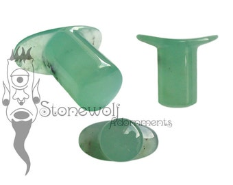 Chrysoprase Stone Round Labret Plug for Stretched Lip Piercings Handmade in UK Made to Order