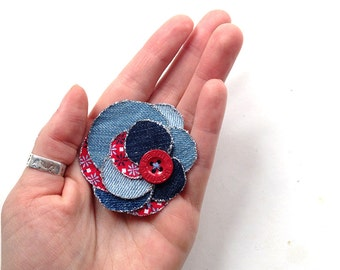 Upcycled flower made of denim fabric - bohemian, jeans, hair accessory, brooch, shabby, handmade, grey, brown