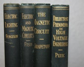 Set of Antique Books, Electric Lighting, 1920s, First Edition, Set of Vintage Books, McGraw-Hill, Black Books, Black and Gold, Book Bundle