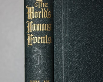 Sale 20% Off, The World's Famous Events, The Story of the Greatest Nations, Vol. IX, 1914, Vintage Books, Antique Books, Blue Books