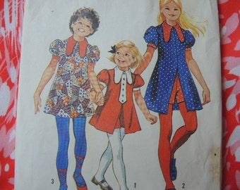 vintage 1970s simplicity sewing pattern 9691  girls size 12 dress and short shorts