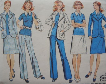vintage 1970s simplicity sewing pattern 5527 misses jacket top skirt and pants size 14