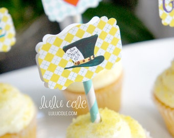 Mad Hatter Cupcake Toppers - Alice in Wonderland Inspired Party Printables