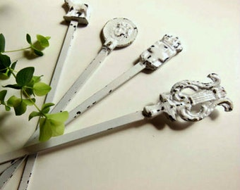4 Garden Plant Stakes, Up-Cycled Recycled Re-Purposed Metal Skewers Set of 4, White Patio Home Decor