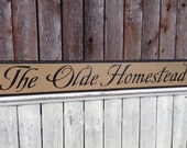 The Olde Homestead Primitive Distressed Sign Routed Edge 5.5x35