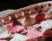 3.60 Mtrs of Unique Vintage French Peachy Pink & Cream Fringed Passementerie Trim