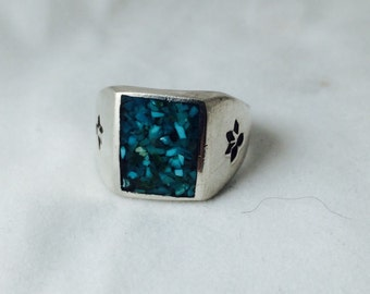 Vintage Sterling  Ring with Turquoise Chips size 11