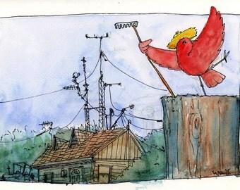 Farmer Bird  -Fine Art print of my original illustration