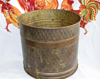 Vintage brass planter with copper accent…hammered...great patina…made in U.S.A.