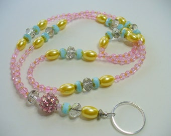Pink, Turquoise and Yellow Pearl Lanyard Necklace, Crystal Bead Lanyard, Nametag, Keychain Holder, Silver, Pearl Necklace, Badge Holder