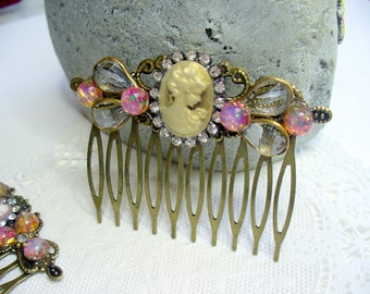 Lady Cameo and Opal Filigree Hair Comb, Rhinestone and Opal, Antique Brass Comb, Bohemian Style, Bridal hair comb, Hair jewelry