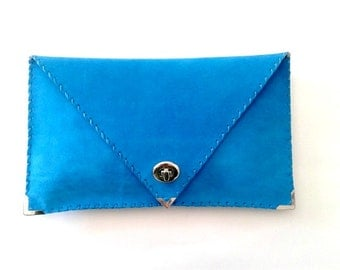 Turquoise handmade leather clutch / High quality suede leather / Leather bag