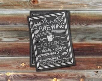 CUSTOM Bridal Shower Invitation- Bistro/Coffee Chalkboard- Love Is Brewing