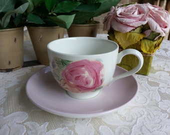 Lovely Pink roses Portmeirion Tea Cup and Saucer, made in Britain, Jo Gorman, Amabel Rose