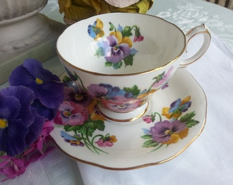 Spring Melody Set by Queen Anne, made in England Fine Bone China, Pansy Tea Cup and Saucer Set