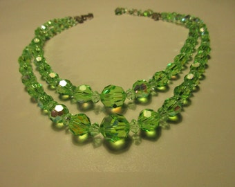 Double Strand Green AB Faceted Beaded Necklace, Hook Clasp