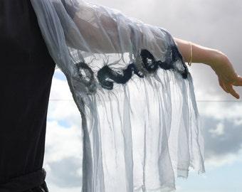 Nuno felted Silk scarf.Organza silk.Fine Merino wool.Art Deco style.OOAK Designers item.Evening wear. Blue organza shawl.