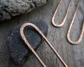 Striations Mini Hair Fork in Bronze - Textured Satin Finish Bronze Hair Pin - Long Hair Accessory - Haar Gabel
