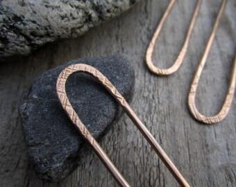 Striations Mini Hair Fork in Bronze - Bun Pin - Textured Satin Finish Bronze Hair Pin - Long Hair Accessory - Haar Gabel