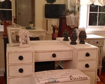 SOLD   Vintage Art Deco Vanity/Dressing Table Hand Painted in Annie Sloan Old White Distressed and Waxed