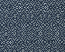 Dark Blue Ikat Upholstery Fabric by the Yard - Reversible Blue Ikat Pillow Cushion Cover Fabrics - Ikat Roman Shade - Blue White Bedding