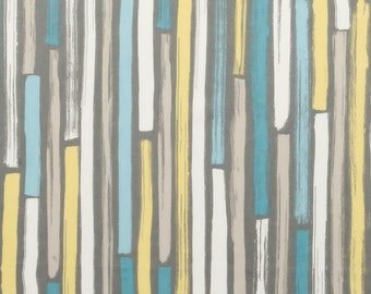 Modern Turquoise and Grey Upholstery Fabric - Aqua Yellow Abstract Stripe Material - Cotton Home Decor Fabrics - Grey White Pillow Covers