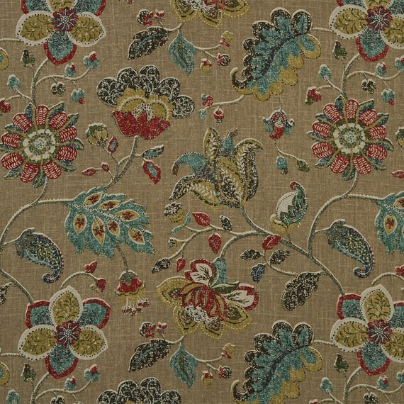 teal red fabric abstract floral design home decor fabric j ennis fabrics product search