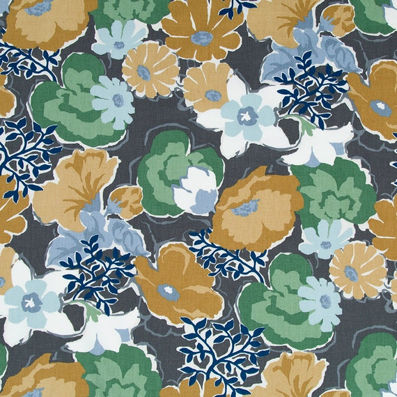 Grey Mustard Yellow Floral Cotton Upholstery by ...