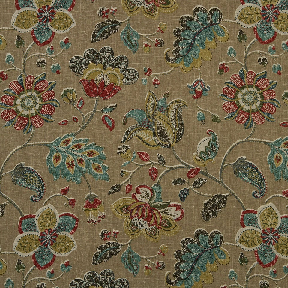 Teal red fabric abstract floral upholstery fabric modern for Floral upholstery fabric