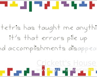 Tetris - Cross Stitch Pattern - Geek - INSTANT DOWNLOAD