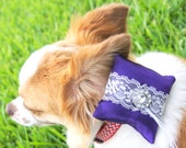 Purple Silk and Lace Wedding Dog Collar Ring Bearer Pillow