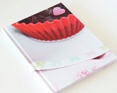 Blank recipe book, a5 hardcover notebook, school supplies, recipe journal, art journal with photo of cupcake
