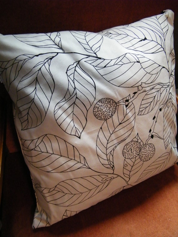 ikea black and white leaf print pillow cover pillow case. Black Bedroom Furniture Sets. Home Design Ideas
