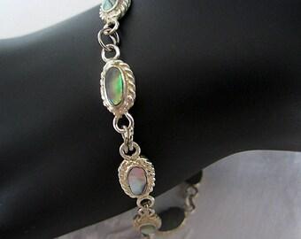 Vintage Abalone Shell Bracelet Alpaca Mexico