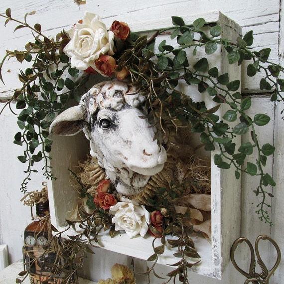 Sheep Wall Art Home Decor ~ Sheep head wall mount rustic farmhouse by anitasperodesign