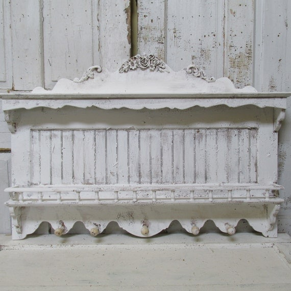 large distressed white wall shelf shabby cottage chic