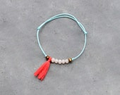 Turquoise cord bracelet with coral tassel and pink cristal beads / Summer charm bracelet for women & girls