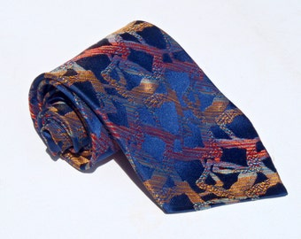 Vintage 1960s Blue Tie with Red Yellow and Orange Abstract Squares