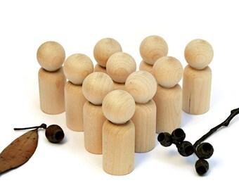 10 x MEDium Wooden PEG DOLLS * Blank peg dolls DIY 'brother' > wood peg people Reggio Homeschool Waldorf Montessori craft supplies Australia