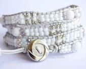 Moonstone wrap bracelet / leather bracelet / Four wrap Beaded bracelet / White Bohemian Jewelry