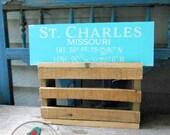 Customized Latitude Longitude Coordinates Hand Painted Wood Box Sign