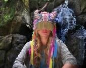 UTHA SHAMAN - Original  - headdress - festival headdress - fesstival hat  - festival headpiece - Bohemian Hippie Head accessories