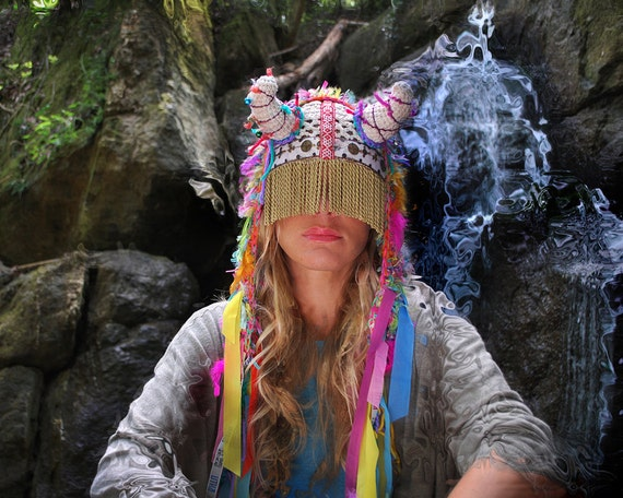 UTHA SHAMAN - Original  - headdress - festival headdress - fesstival hat  - festival headpiece - Bohemian Hippie Head accessories