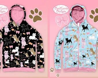 Kawaii Cat Jacket Fairy Kei Zip Up Cat Jacket Kitten Cat Hoodie Jacket Cat Pattern Size XS Through 3XL *Made 2 Order*