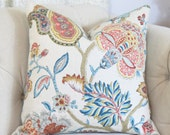 """SALE 25.00 18"""" or 20"""" - Floral Pillow Cover - Blue Green & Red Botanical Pillow Cover - Throw Pillow - Muted Floral Pillow Cover - Cushion"""