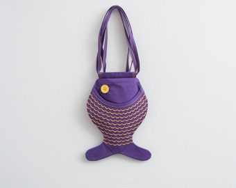 Fish Bag Animal Bag Kids Bag Beach Accessories Hipster Bag Summer Bag For Festivals Fun Bag Kawaii Wallet Cute Bag Small Bag Purple Fish