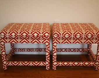 SALE Pair of Mid Century vintage red cotton ikat upholstered benches stools ottomans